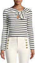 Derek Lam 10 Crosby Long-Sleeve Knotted Striped Crop Top
