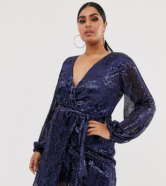 Club L London Plus sequin plisse wrap front midi dress