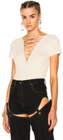 Alexander Wang Cotton Cashmere Lace Up Short Sleeve Pullover in Neutrals.