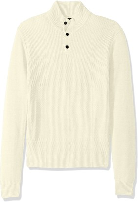 Perry Ellis Men's Solid Textured Mock Neck Sweater
