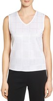 Ming Wang Women's Check Pattern V-Neck Tank