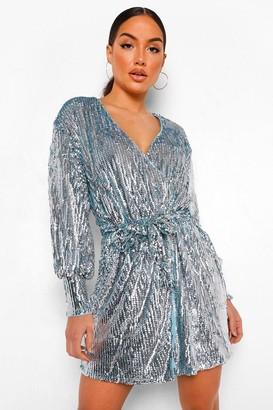 boohoo Sequin Long Sleeve Wrap Front Mini Dress