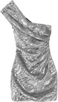 Saint Laurent One-shoulder Sequined Wool-crepe Mini Dress - Silver