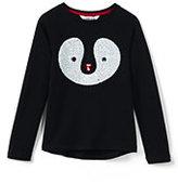 Lands' End Girls Plus Sparkle Cozy Sweatshirt-Sequin Penguin