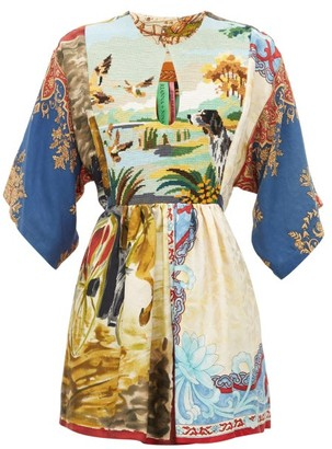 RIANNA + NINA Vintage Patchwork Tapestry-panel Silk Top - Multi