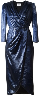 Diana Arno Emilia Wrap Velvet Dress In Celestial Blue