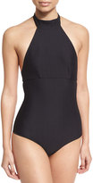 Onia Heather Choker Solid One-Piece Swimsuit, Black