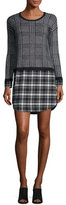 Joie Dinay Long-Sleeve Plaid Combo Dress, Caviar/Porcelain
