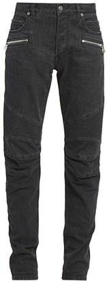 Balmain Monogram Moto Tapered-Fit Jeans
