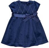 Florence Eiseman Twill Velvet Lattice Dress w/ Pearly Trim, Size 12-24 Months