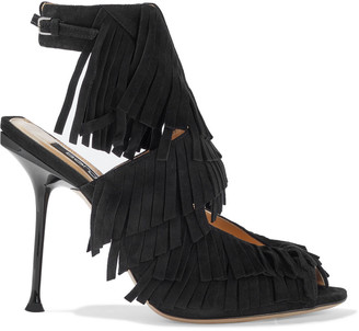 Sergio Rossi Sr Milano Cutout Fringed Suede Sandals