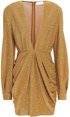 Sara Battaglia Draped Lurex Mini Dress