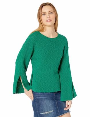 Cupcakes And Cashmere Women's Kaya Cotton slub Boatneck Sweater with Split Sleeve