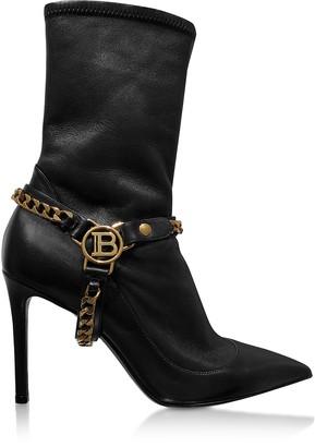 Balmain Black Leather High Heel Boots