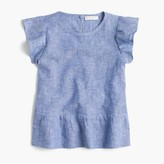 J.Crew Girls' pleated peplum top in chambray