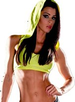 MUSCLE ALIVE Womens Bodybuilding Crop Tops Hoody Polyester and Spandex Size M