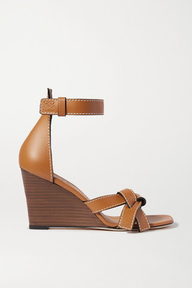 Loewe Gate Topstitched Leather Wedge Sandals - Tan