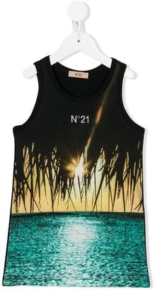 No21 Kids Beach-Print Logo Tank Top