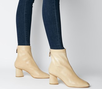 Office Afternoon Feature Mid Heel Boots Camel Leather Feature Zip