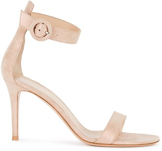 Gianvito Rossi 85 Blush Suede Sandals