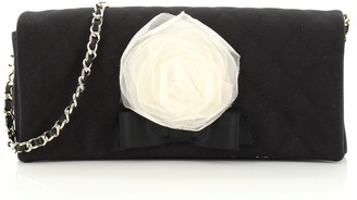 Chanel Vintage Camellia Chain Flap Clutch Quilted Canvas East West