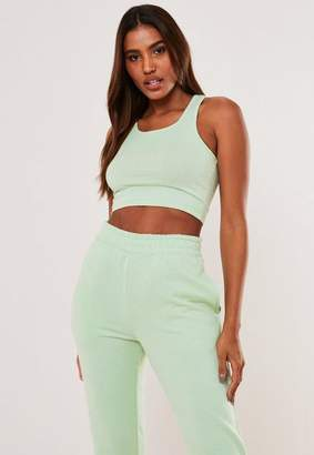 Missguided Green Racer Back Crop Tank Top Top