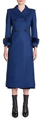 Fendi Women's Double-Breasted Mink Cuff Coat