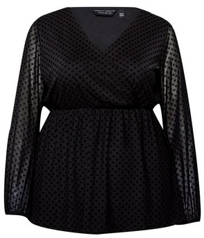 Dorothy Perkins Womens Dp Curve Black Spotted Top, Black