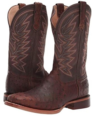 Durango Premium Exotic Full-Quill Ostrich Western Boot (Antiqued Saddle Ostrich) Men's Shoes