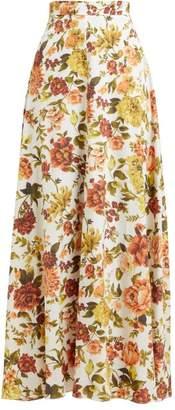 Zimmermann Zippy Basque Floral Print Silk Blend Maxi Skirt - Womens - Orange Print