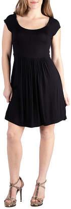 24/7 Comfort Apparel 24/7 Comfort Dresses Cap Sleeve Knee Length Babydoll Dress