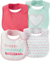 Carter's Baby Girls' 4-Pack Hello Cutie Teething Bibs