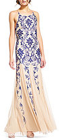 Adrianna Papell Halter Neck Sleeveless Embellished Beaded Gown