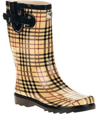 Forever Young Women's Plaid Short Shaft Rain Boots