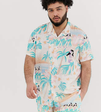 Asos Design DESIGN Plus festival relaxed fit hawaiian floral shirt in pink