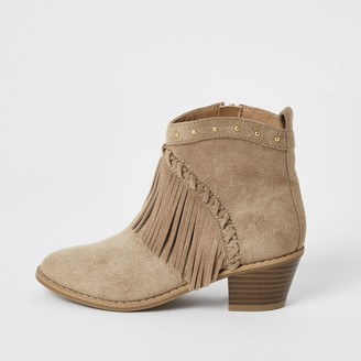 River Island Girls Brown fringe western ankle boots