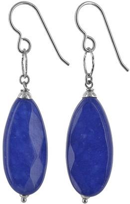 Ashanti Navy Blue Jade Gemstone Silver Handmade Earrings
