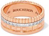 Boucheron Quatre Radiant Edition Small 18-karat Rose And White Gold Diamond Ring - Rose gold