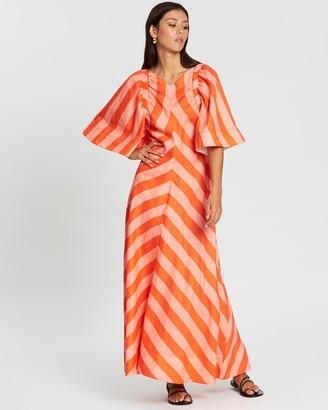 Lee Mathews Mariko Bell Sleeve Maxi Dress