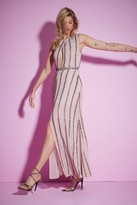 Nasty Gal Womens Studio All Night Long Beaded Dress - Beige - 6, Beige