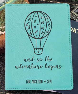 Stamp Out Online Passport Holders teal - Teal 'Adventure Begins' Personalized Passport Cover