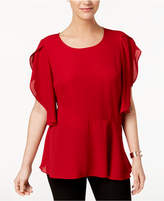 NY Collection Cape-Sleeved Asymmetrical-Hem Top