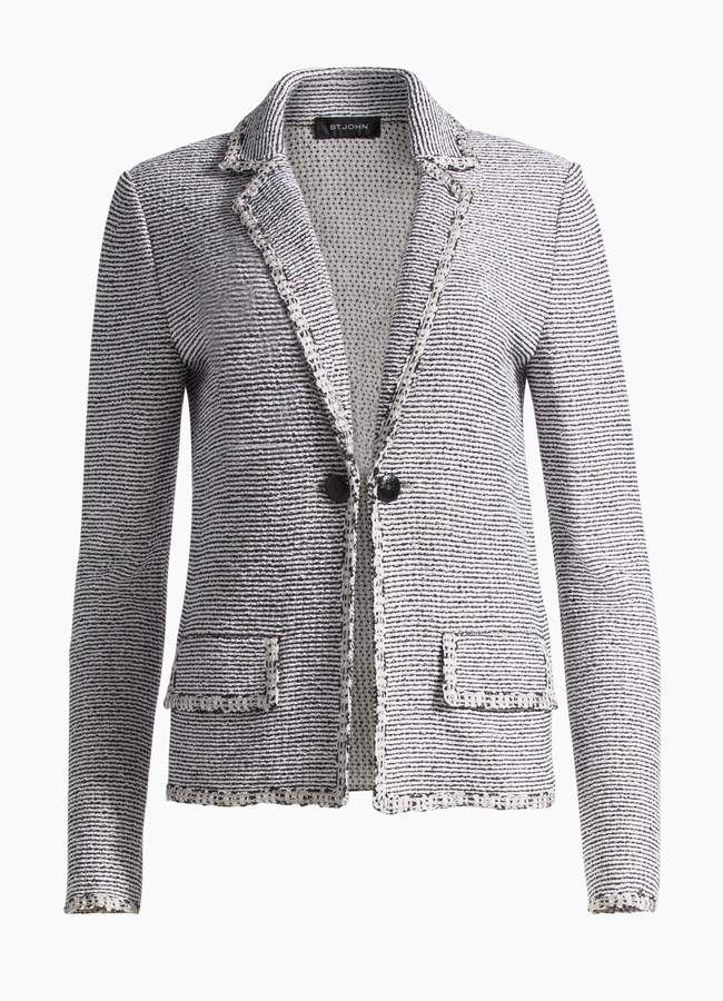 St. John Crepe Tweed Notch Collar Jacket