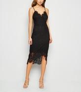 New Look Lace Asymmetric Wrap Midi Dress