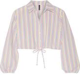 Lisa Marie Fernandez Cropped Stripped Seersucker Shirt - White