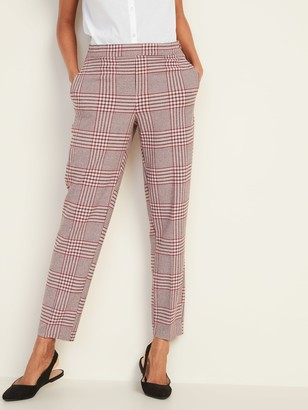 Old Navy Mid-Rise Plaid Pull-On Straight Pants for Women