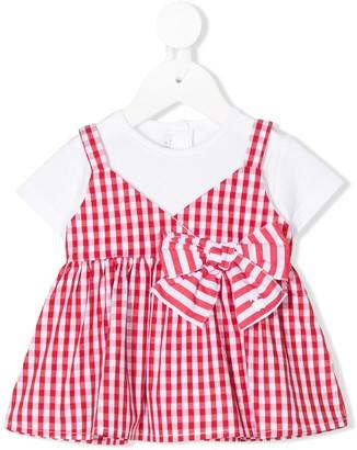 Le Bebé Enfant layered gingham-print T-shirt