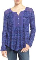 Lucky Brand Crochet Trim Print Blouse