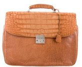 Domenico Vacca Leather Alligator-Trimmed Briefcase