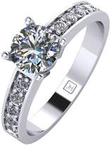 Moissanite Platinum 1 Carat Round Brilliant Solitaire Ring With Stone Set Shoulders